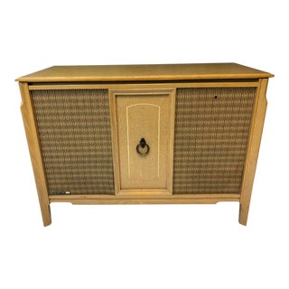 Mid Century Modern Blonde Record Cabinet by Rca Victor For Sale