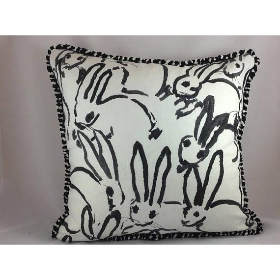 "Hunt Slonem ""Bunny Hutch"" in Black & White Pillows - a Pair - Image 2 of 5"