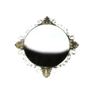 Vintage Art Deco Atsonea Convex Acrylic and Wood Mirror For Sale
