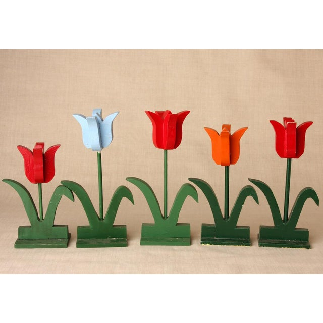 1950s 1950s Folk Art Red and Baby Blue Wooden Tulip Display - Set of 5 For Sale - Image 5 of 5