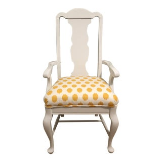 White Lacquered Finish Queen Anne Chair For Sale