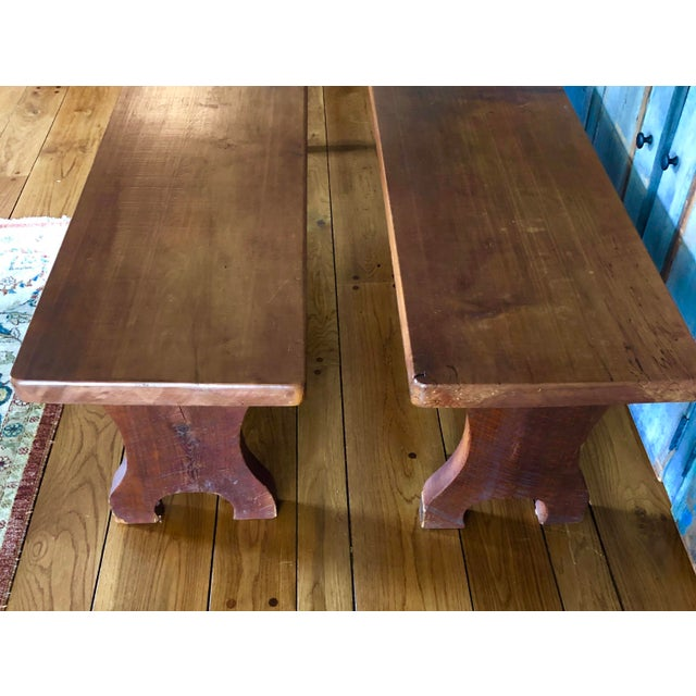 1980s Vintage Wooden Benches A Pair Chairish