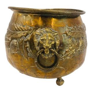 Antique Brass Cache Pot Jardiniere Planter For Sale