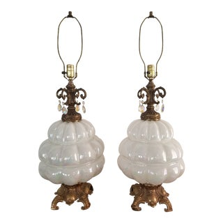 Vintage Opalescent Blown Glass Lamps With Dangling Prisms - a Pair For Sale