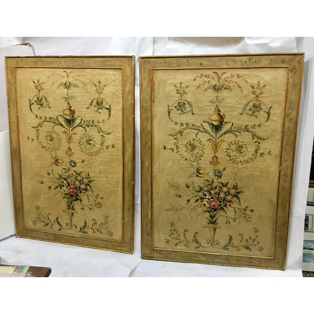 Shabby Chic Early 20th Century Antique Painted Floral Canvas Panels - A Pair For Sale - Image 3 of 12