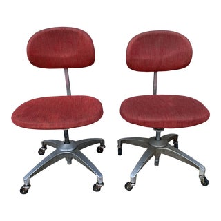 Vintage Shaw-Walker Aluminum Rolling Office Chairs - a Pair For Sale