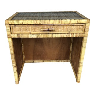 Vintage Rattan Wicker Vanity Desk For Sale