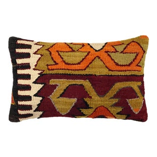"Reclaimed Vintage Kilim Lumbar Pillow | 12"" X 20"" For Sale"