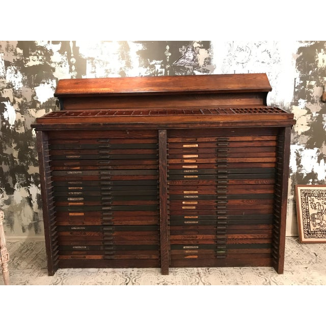 We have never seen a fully intact cabinet with all 49 drawers of this size  and. Rustic Antique Letterpress Printer's ... - Antique Letterpress Printer's Cabinet Chairish