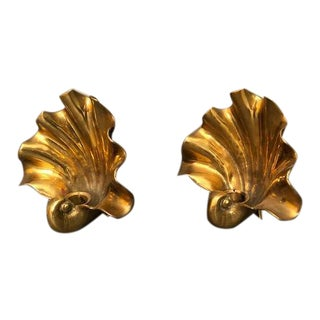 Hollywood Regency Brass/Gold Shell Wall Sconce Candle Holders - A Pair