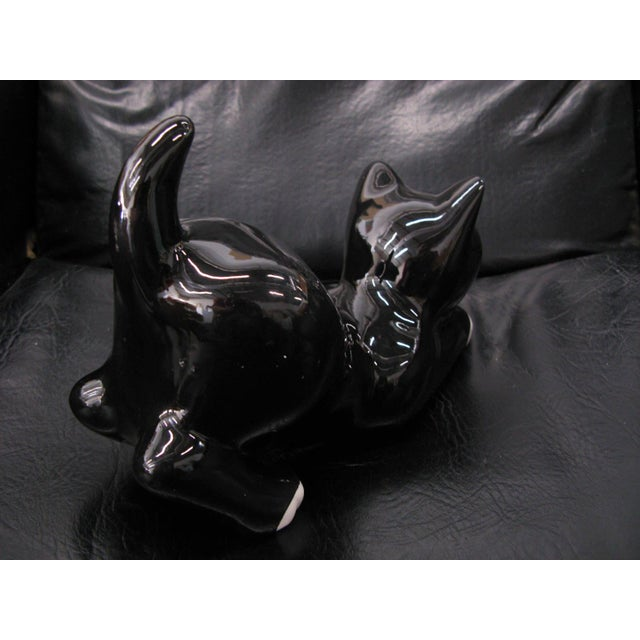 Alcobaca Black & White Ceramic Kitty Cat For Sale - Image 4 of 10