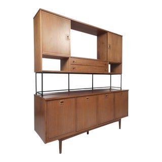 Impressive Two-Piece Midcentury Wall Unit by Stanley For Sale