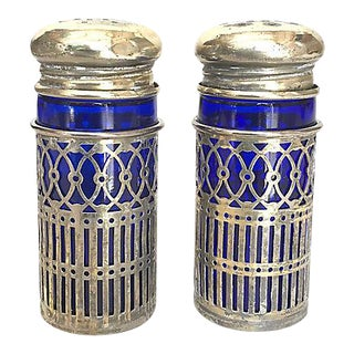 Silver Plate/Sapphire Glass Salt & Pepper Shakers - a Pair For Sale