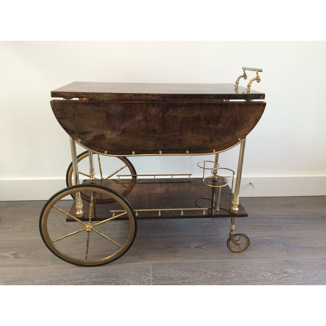 Aldo Tura '50s Brass & Lacquered Goatskin Bar Cart - Image 3 of 11