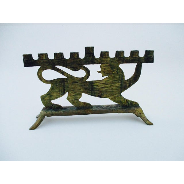 Hen Holon Brass & Enamel Lion Menorah - Image 4 of 9