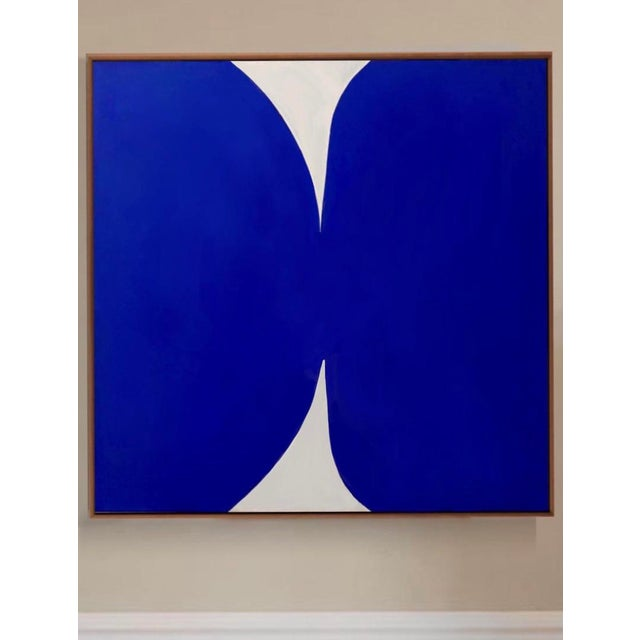 """2020s """"Klein Blue and White"""" Contemporary Abstract Acrylic Painting, Framed For Sale - Image 5 of 5"""