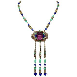 1920s Czech Egyptian Revival Pendant Necklace For Sale