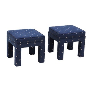 Classic Parsons Ottomans - Pair For Sale