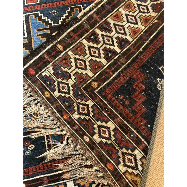Antique Area Rug in Blues and Cranberry For Sale - Image 4 of 10