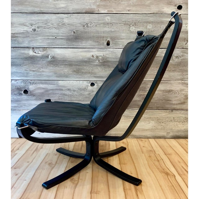 Black 1960s Sigurd Ressell Highback Falcon Lounge Chairs - a Pair For Sale - Image 8 of 13