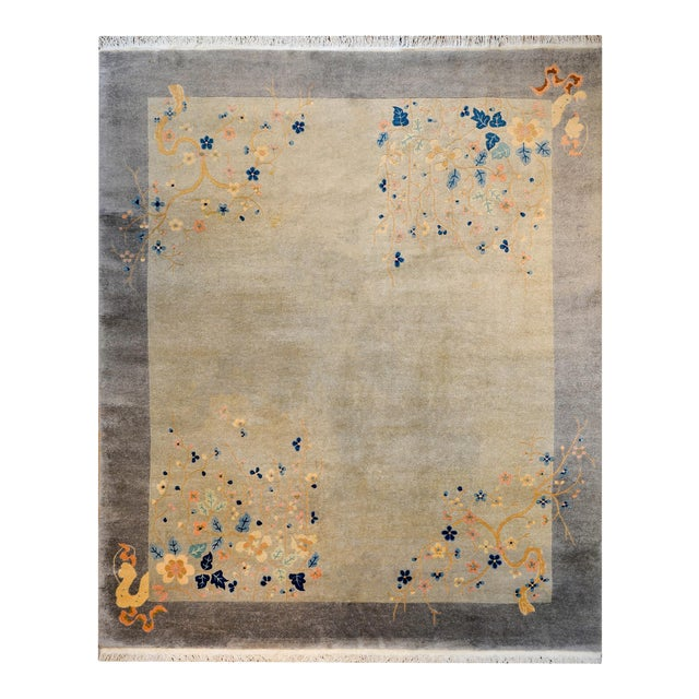Serene Chinese Art Deco Rug For Sale