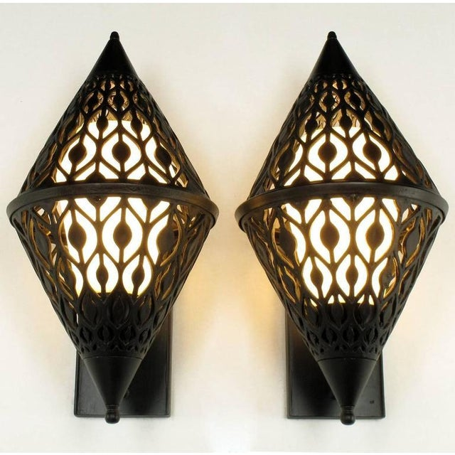 1960s Pair of Black Enamel Pierced Diamond Sconces with Internal Milk Glass Shades For Sale - Image 5 of 9