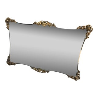 Vintage Gold Gild Large Ornate Wall Mantle Mirror For Sale