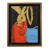 "Image of ""Bunny With Blue Hermès"" Contemporary Acrylic Painting, Framed For Sale"