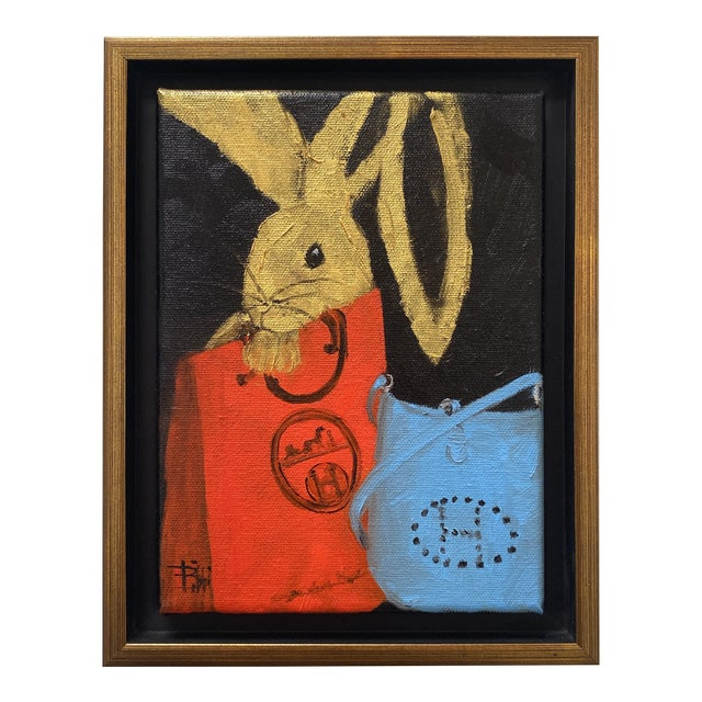 """Bunny With Blue Hermès"" Contemporary Acrylic Painting, Framed For Sale"