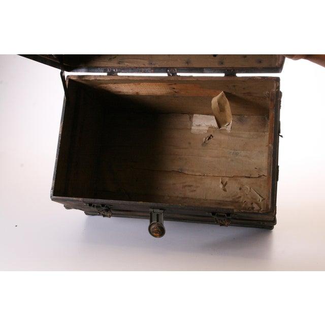Victorian Wood & Metal Flat Top Brown Steamer Trunk - Image 7 of 11