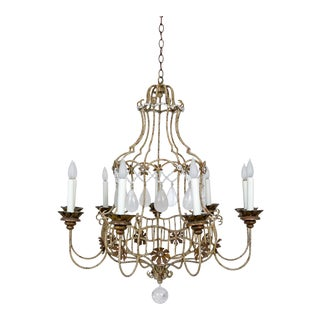 1920s Belle Epoque Style Painted Birdcage Chandelier With Rock Crystals For Sale