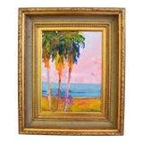 Image of Original Juan Pepe Guzman California Palm Trees Landscape Oil Painting For Sale