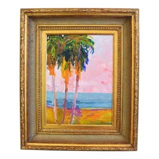 Original Juan Pepe Guzman California Palm Trees Landscape Oil Painting For Sale
