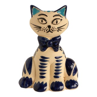 Mexican Pottery Cat Figurine For Sale