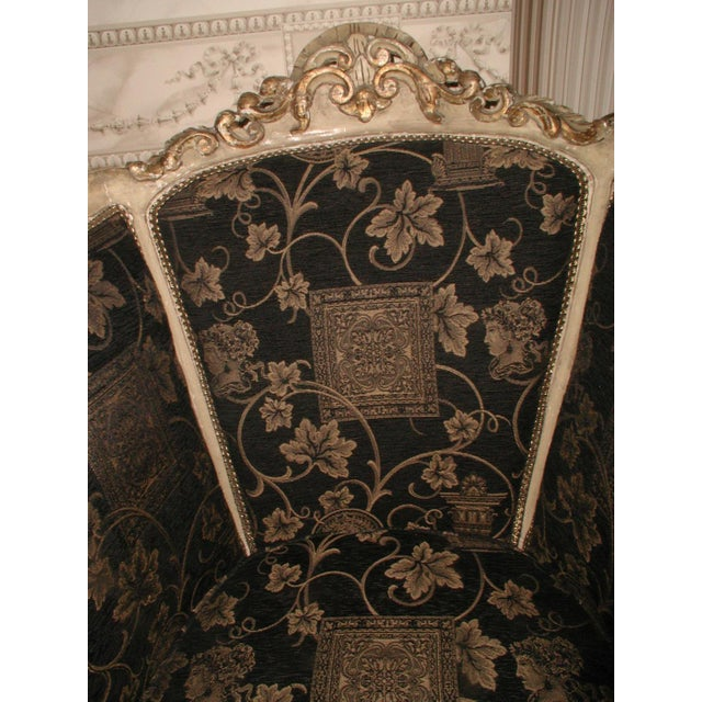 Fabric 18th Century Art Nouveau Hand-Carved Arm Chairs - a Pair For Sale - Image 7 of 9