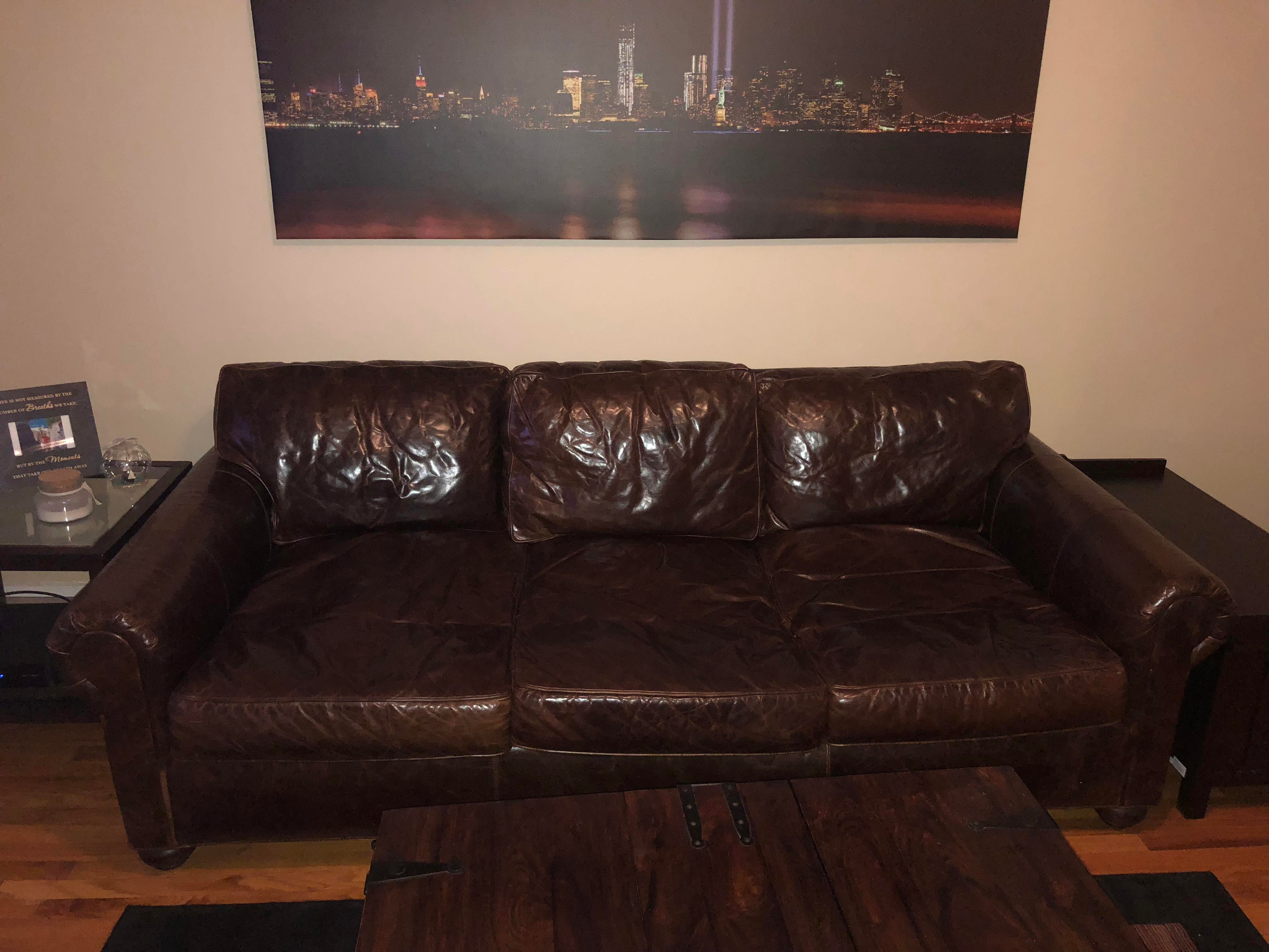 Restoration Hardware Luxe Lancaster Leather Couch Chairish