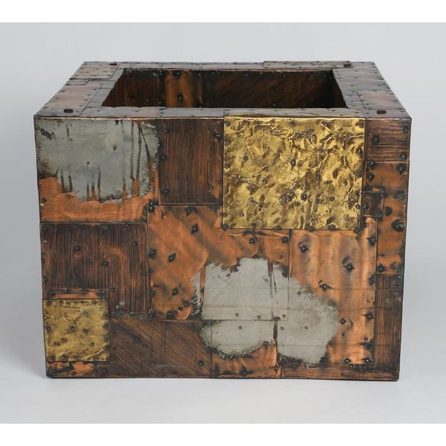 Brutalist PAUL EVANS PEWTER, BRASS AND COPPER PATCHWORK COCKTAIL TABLE, CIRCA 1970S For Sale - Image 3 of 7