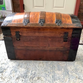 1930s Antique Refinished Dome Top Trunk Storage Chest Steamer Trunk Preview