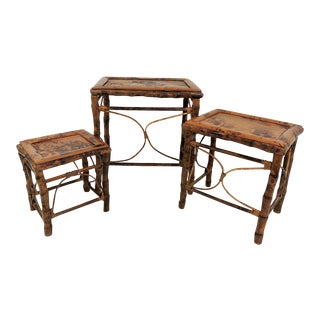 Rustic Burnt Bamboo Nesting Side Tables - Set of 3 For Sale
