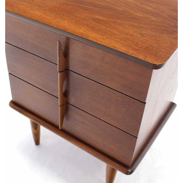 Walnut Three Drawer Nightstand Chest Solid Walnut Carved Pulls For Sale In New York - Image 6 of 7