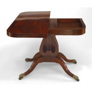Wood American Federal Style (19th Cent) Mahogany Flip Top Console/Card Table With Lyre Base For Sale - Image 7 of 8