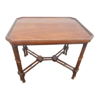 Brandt Furniture Embassy Collection Faux Bamboo Asian Inspired Side Accent Table For Sale