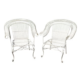 Mid-Century Modern Russell Woodard Style Wrought Iron Chairs - a Pair