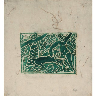 Jennings Tofel Figurative Woodcut Print in Green Ink, Early 20th Century For Sale