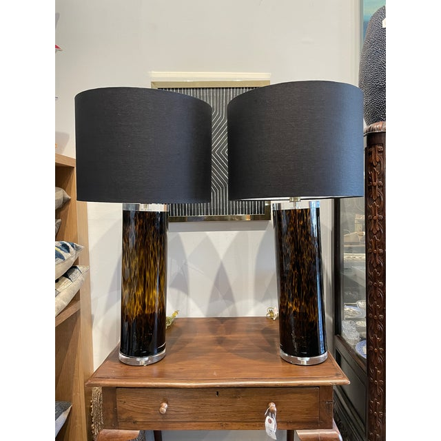 Mid-Century Modern Lucite and Faux Tortoiseshell Italian-Made Glass Table Lamps For Sale - Image 9 of 9