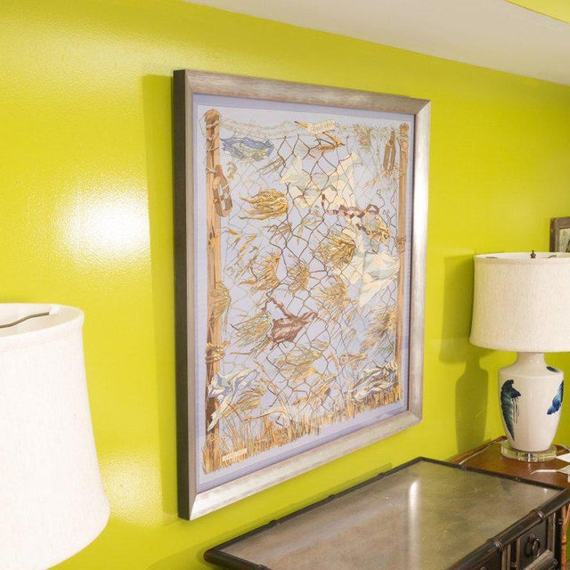 """1960s """"Grand Vent"""" Framed Hermes Scarf For Sale In New York - Image 6 of 7"""