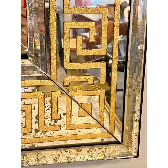 Hollywood Regency Mirrors Gilt Gold Greek Key Design Wall, Console Pier a Pair For Sale - Image 4 of 13