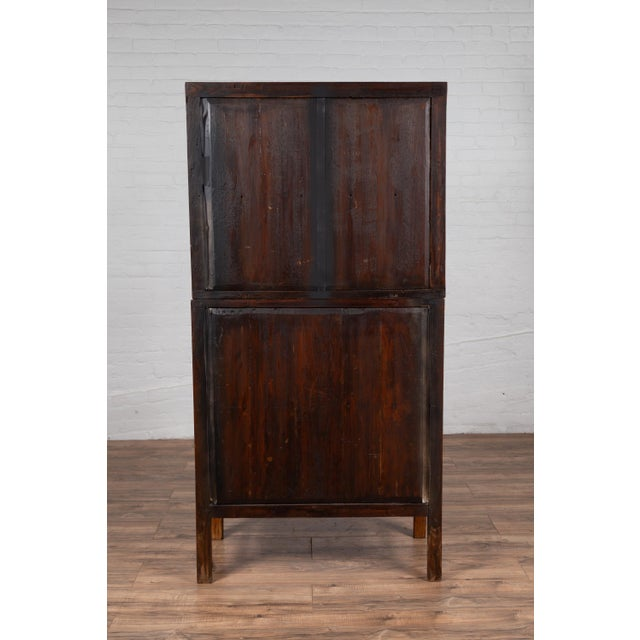 Vintage Chinese Two-Part Elmwood Bookcase With Pillar-Shaped Strut Motifs For Sale - Image 4 of 13