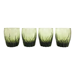 Vintage 1970s Green Swirl Tumblers For Sale