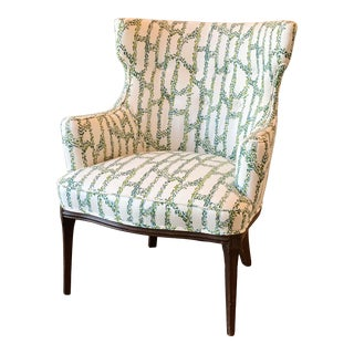 1940s Vintage Wingback Chair in Blue and Green Print For Sale